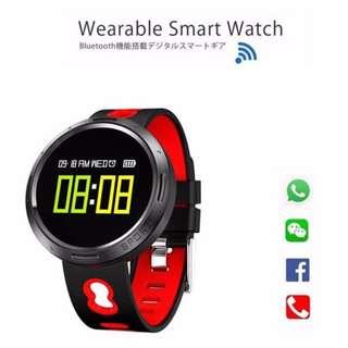 """【聖誕禮物推介】智能手錶 WHATSAPP WECHAT 信息顯示/來電提示/血壓心率監測/計步器/睡眠監測 Bluetooth Smart Watch 0.95"""" OLED (紅色)"""