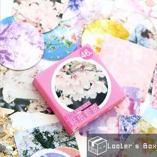 46 Pcs Sakura Japanese Scenery Decorative Sticker Pack (AAC1197)