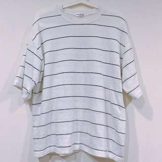 🚚 O.poism 白色黑線 條紋 上衣