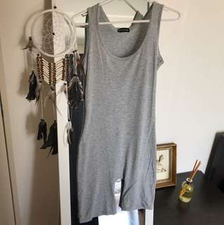 Tight Fitting Grey Shorts Jumpsuit