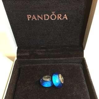 🚚 Pandora - Blue Glass Bead Bracelet Charm