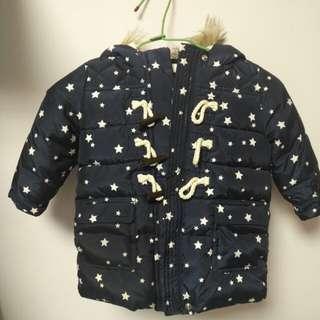 BABY GAP 兒童 嬰兒深藍色星星牛角釦保暖外套 鋪棉外套2Y