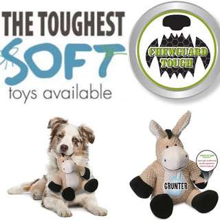 Brand New 35cm LARGE goDog Checkers with Chew Guard Technology Tough Plush Dog Toy