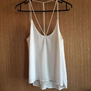 Bardot Strappy White Cami Top