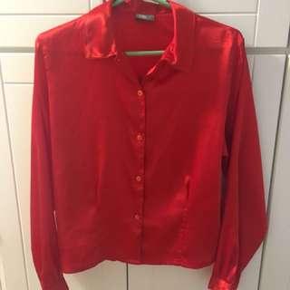 Silk Red Button Down
