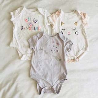 3pc Cotton On Rompers (0-3 months)