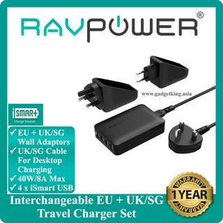 4-port Travel Adaptor (Interchangeable EU + UK/SG plugs) Wall Charger