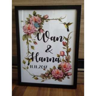 Customized Couple's Name Prints With Frame