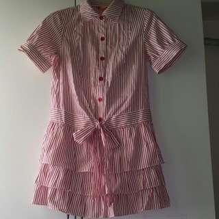 紅白細直條蛋糕裙洋裝