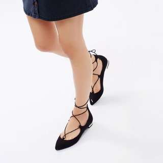 Lace Tie Up Pointy Flats