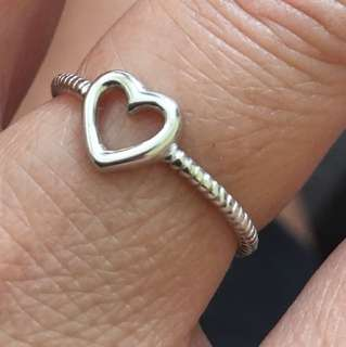 NEW 925 Sterling Silver Heart Stacking Ring, Sz 8