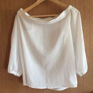 Korean Off Shoulder White Top
