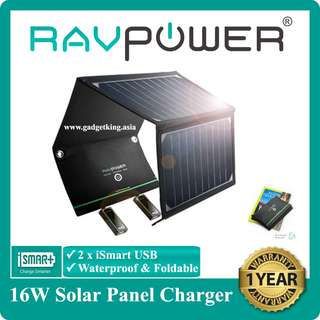 16W Foldable Solar Panel Charger, DUAL USB Ports, Waterproof