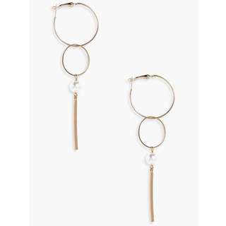 Pearl hoop and bar earrings