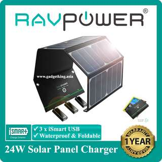 [IN-STOCK] 24W Foldable Solar Panel Charger, Triple USB Ports, Waterproof
