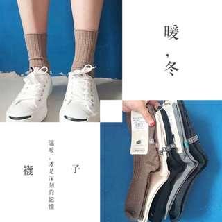 韓日系森林系素色中筒條紋復古襪