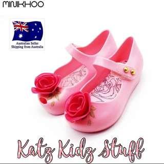 Mini Melissa Minikhoo Pink Beauty And The Beast Rose Shoes Size 11