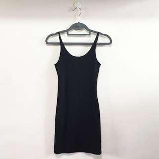 Black Bodycon Ribbed Dress