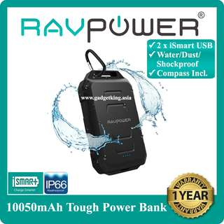 [IN-STOCK] 10050mAh Water/Dust/Shockproof Power Bank with Flashlight and Compass