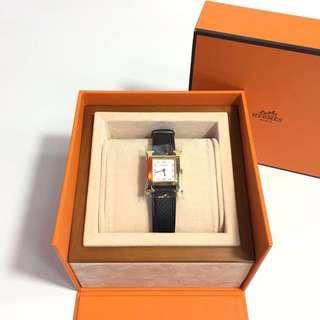 全新 Hermes 最新黑色金扣 H手錶 PM小號 單圏 帥氣啊‼️