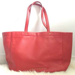 Marc Jacobs soft leather red tote bag