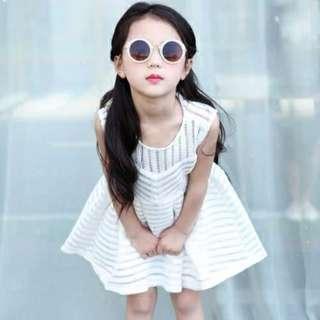 Girl dress Korean hollow princess skirt tide/女童连衣裙韩版镂空无袖背心裙公主裙潮