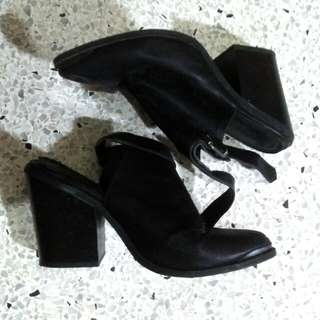 Forever21 peep ankle boots