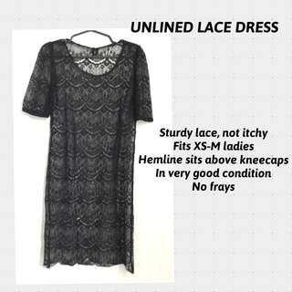 UNLINED BLACK LACE DRESS