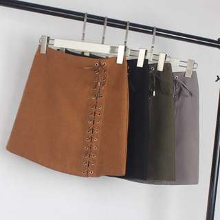 PO#24 Suede Shoelace Skirt
