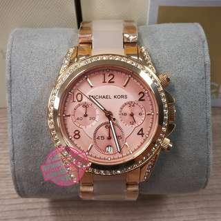 **MK watch #MK5943 Blair Chronograph Rose Dial Rose Gold-tone and Acetate Ladies Watch