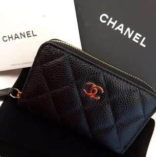 Brand New Chanel Black Caviar Cardholder/Coin Purse GHW