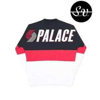 (S) PALACE BLAZED DROP SHOULDER CREW BLACK / RED / WHITE