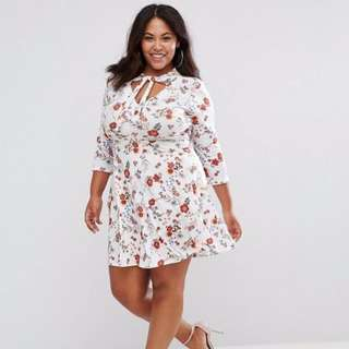 Asos Plus Size Tie Front Printed Tea Dress With 3/4 Length Sleeve
