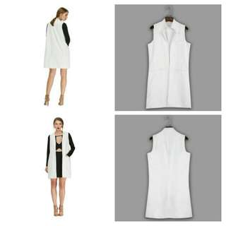 STAND COLLAR SLEEVELESS FAUX POCKET LOOSE SUIT (WHITE, SIZE S/M/L/XL)