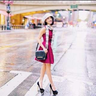 Agnetha classic zip flare dress in burgundy