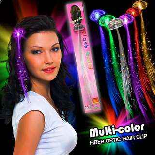Flash braids Led hair extension Fibre optic hair party clip on lights - great for ZOUK OUT or any party