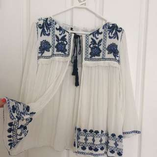 FOREVER21 boho embroidered top