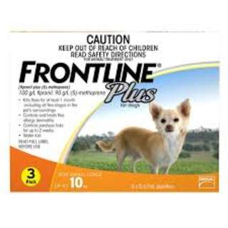 *BNIB* FRONTLINE PLUS FOR SMALL DOGS, UP TO 10KG - 3 PACK