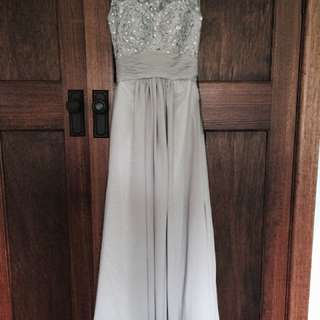 Sheer back grey floor length formal dress