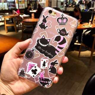 手機殼 iPhone 6 6s plus 5.5 軟殼 愛麗絲 妙妙貓 柴郡貓 兔子 撲克牌 茶壺 粉紅