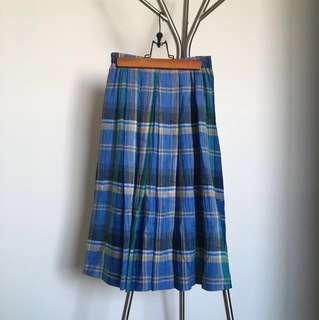 古著格紋中長裙