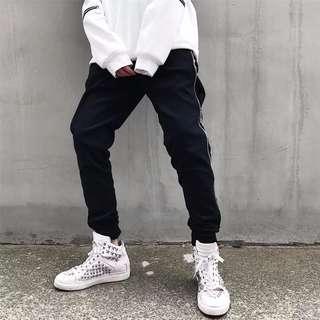 🚚 【Oscar】運動褲 休閒褲 縮口 棉質 束腳 情侶 拉鍊