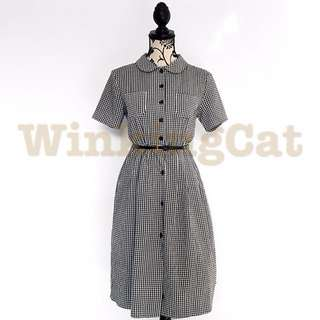 (D158)Vintage Checkered Dress