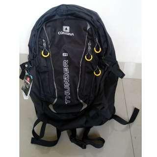 Tas Daypack Ransel Backpack Plus Cover Consina Thunder Black New