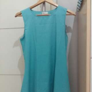 Dress Tank top Sleeveless Shirt Wanita Warna Biru Tosca
