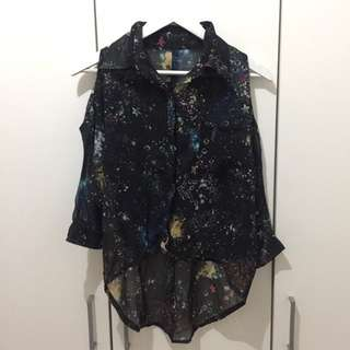 Cut Out Loose Galaxy Shirt