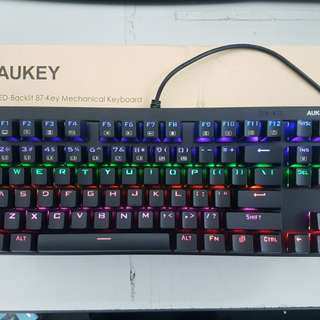AUKEY Mechanical Keyboard with Blue Switches, 87-Key Water Resistant Gaming Keyboard with Preset Lighting Effects for PC and Laptop Gamers