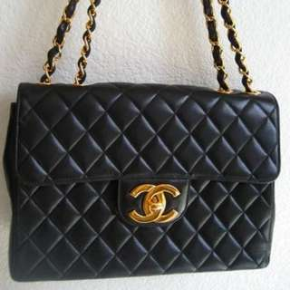 Chanel classic cc logo chain bag jumbo maxi vintage 手袋 雙鏈金鏈手袋