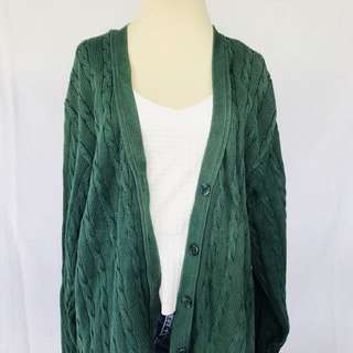 Oversized Green Knitted Cardigan
