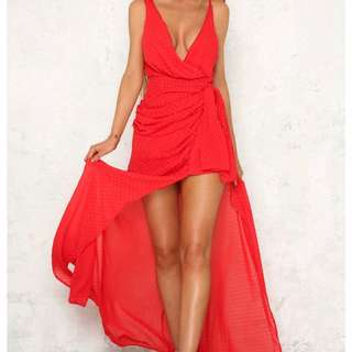Red dress with thigh split